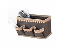 Корзинка коробка для мелочей с кармашками коричневая