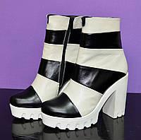 Женские зимние ботинки на белой тракторной подошве, натуральная кожа, бежево-черные, фото 1