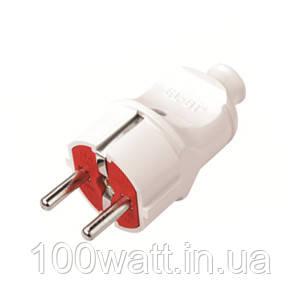 Вилка электрическая с/з прямая белая с заземлением 16А VI-KO