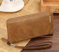 Стильный мужской клатч портмоне BAELLERRY замшевая версия светло-коричневого цвета