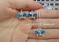 Серебряный набор с бабочками, фото 1