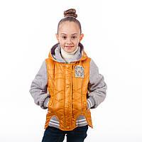 """Модная курточка  для девочки с трикотажными рукавами """"Лейла"""" новинка"""