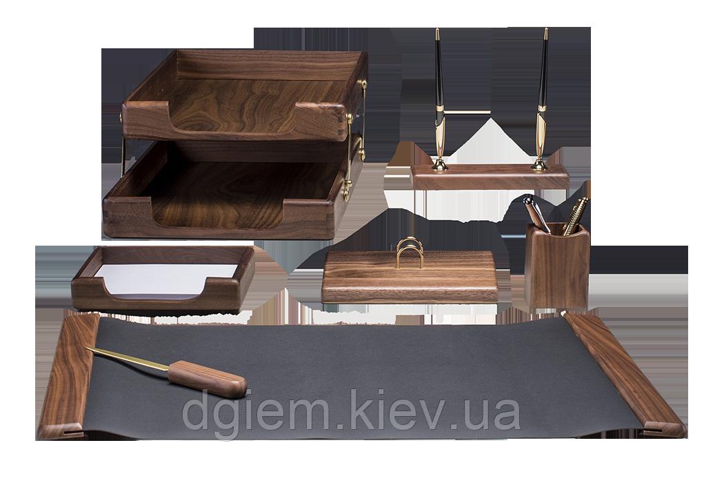 """Настольный набор деревянный 7 предметов """"темный орех"""""""