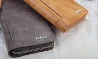 Стильный мужской клатч портмоне BAELLERRY замшевая версия темно-серого цвета