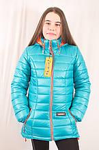 Красивая модная бирюзовая детская демисезонная  куртка с капюшоном, бирюзовая, р.134,140,146. .