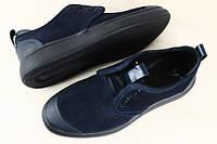 Спортивные мужские туфли на шнурках замшевые синий. Стиль 2016
