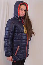 Красивая модная практичная демисезонная  куртка с капюшоном на девочку, р.116,122,128., фото 3