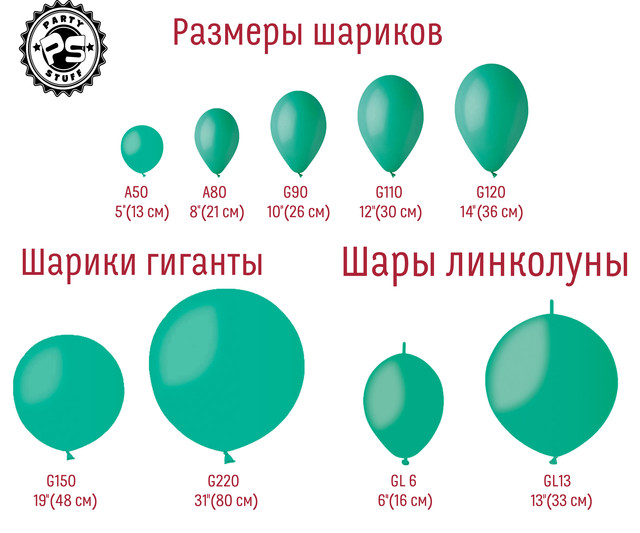 Размеры воздушных шариков