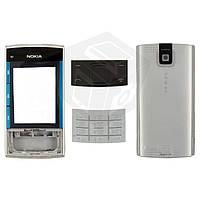 Корпус для Nokia X3-00 с клавиатурой, серебристый, оригинал