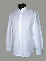 Льняная рубашка с белой вышивкой Хорол