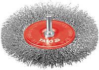 Yato Щетка-крацовка 100мм, с хвостовиком, проволока inox 4758
