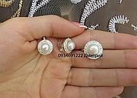 Круглый набор с жемчугом серебро 925