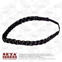 Повязка-резинка чёрная Косичка для волос на голову
