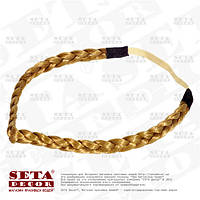 Повязка-резинка золотистая Косичка для волос на голову