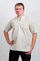 Вышиванка мужская белая по серому короткий рукав