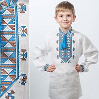 """Вышиванка детская для мальчика """"Гетьман"""" голубой орнамент"""