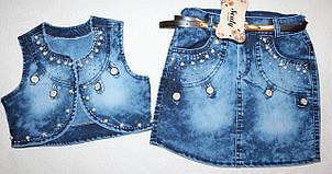 Комплект джинсовая юбка+жилетка  5,6,7 лет