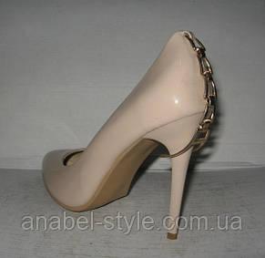 Туфли женские лаковые бежевые, фото 2