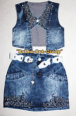 Комплект джинсовая юбка+жилетка  5 лет