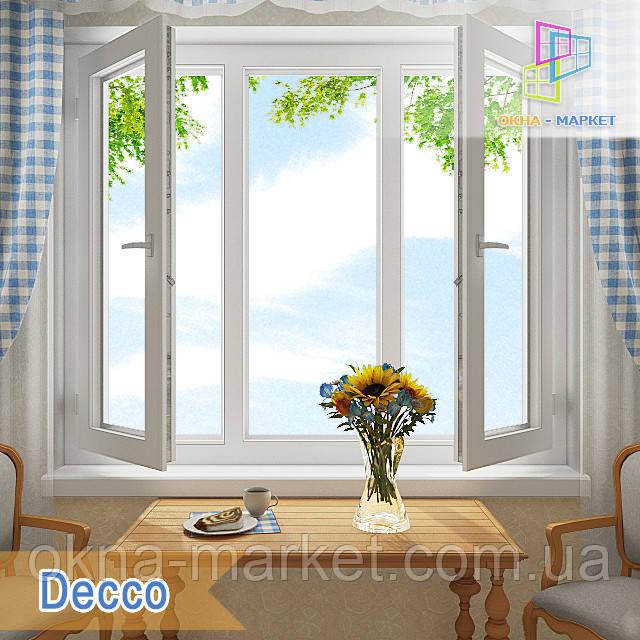 """Пластиковое трехстворчатое окно с двумя открывающимися створками 1800x1400 Decco """"Окна Маркет"""""""