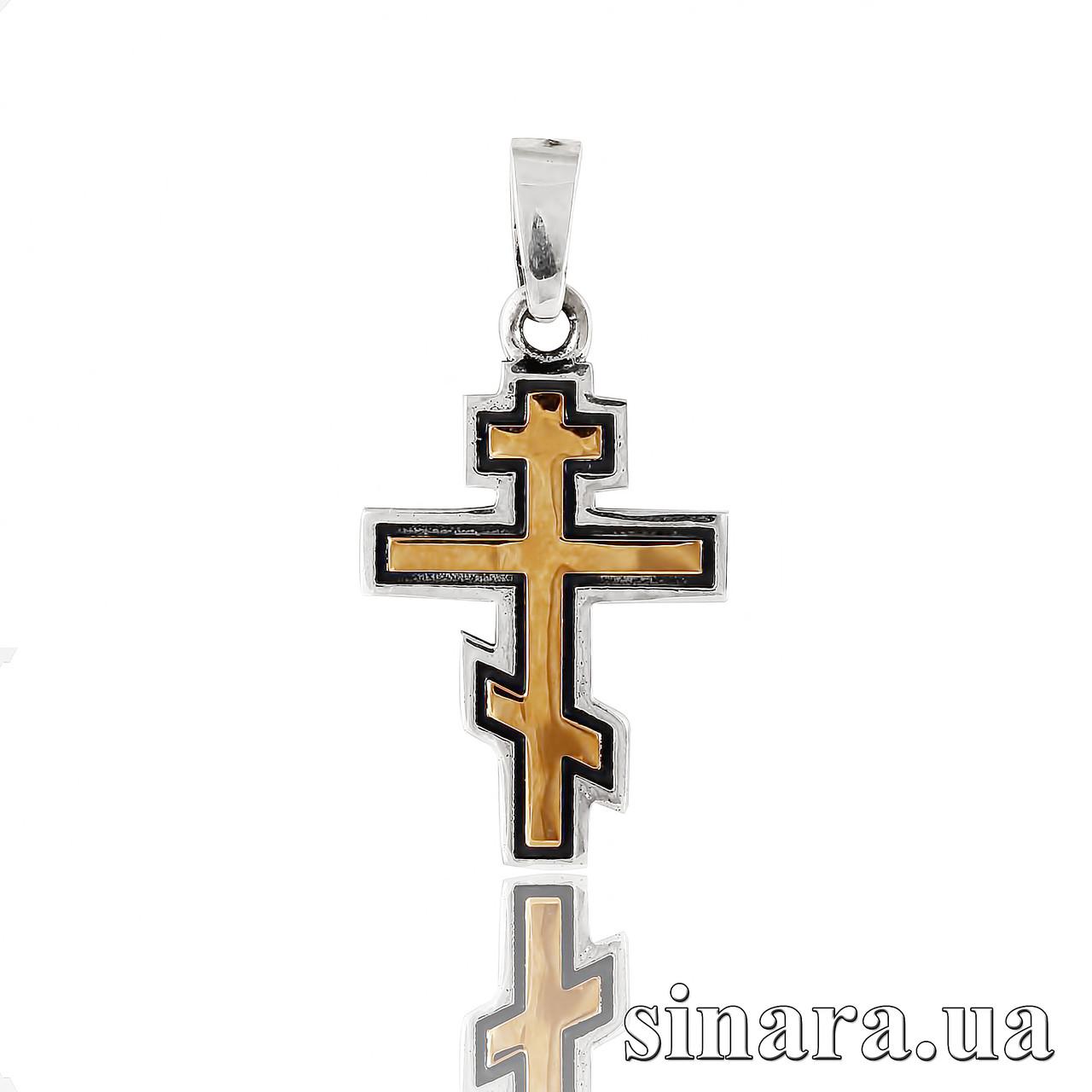 Серебряный Крест с золотом 375 пробы 30907