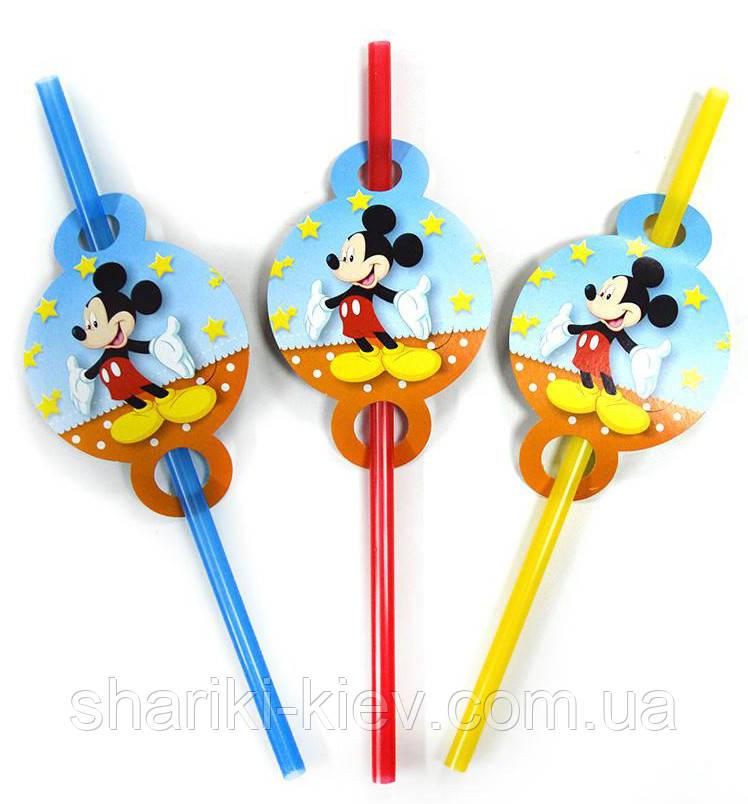 Трубочки Микки Маус 8 шт. простые на День рождения в стиле Микки Маус
