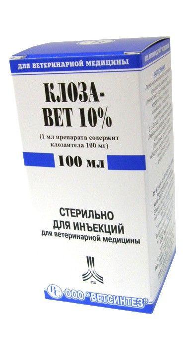 Клозавет 10% 100 мл ветеринарный противопаразитарный препарат для КРС и МРС