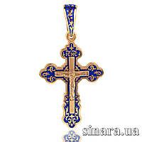 Серебряный Крестик с синей эмалью, позолотой и распятием 30689
