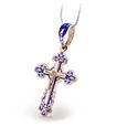 Серебряный Крестик с синей эмалью, позолотой и распятием 30689, фото 3