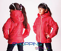 Курточка для девочки плащевка горошек