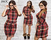 Женское платье барбери красное батал 48-54