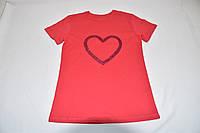 Коралловая футболка с сердечком