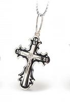 Серебряный Крестик с эмалью и распятием 32182