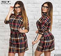 Женское платье барбери темное батал 48-54