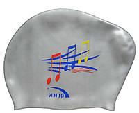 Плавательная шапочка для длинных волос (цвет серебристый, рисунок ноты), фото 1