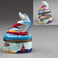 Шкатулка для украшений Дельфин 8 см 003E