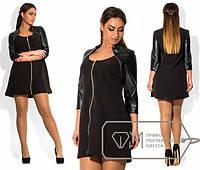 Платье женское черное кожа рукав АК/-256
