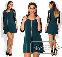 Платье женское зеленое кожа рукав АК/-256