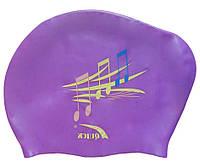 Шапочка для плавання для довгого волосся (колір бузковий, малюнок ноти), фото 1
