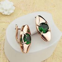 Серьги с зелеными камнями фианита R2-0574
