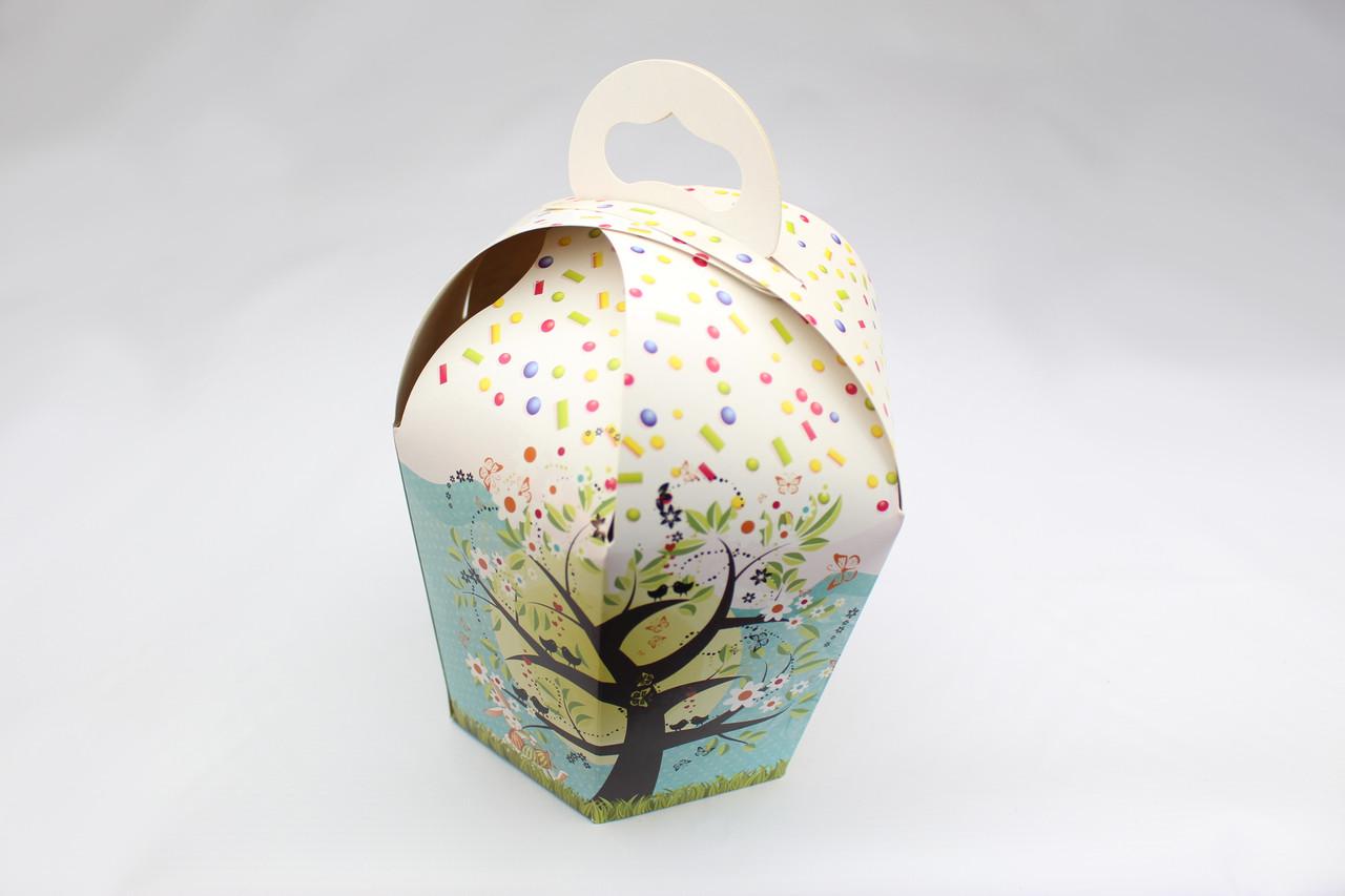 Упаковка для пасхи / 110х110х160 мм / Коробка для кулича / Мален / Пасха / печать-Весенн.Дерев, Картон
