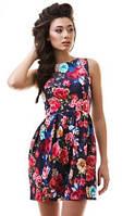 Летнее женское платье с пышной юбкой с цветочным принтом без рукавов рифленый жаккард