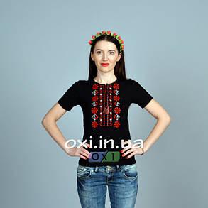 """Футболка вышиванка """"Полина"""" черная KRAYKA, фото 2"""