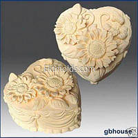 Силиконовая форма Сердечко-торт1 (хризантемы)