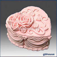 Силиконовая форма Сердечко-торт2 (розы)