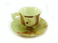Чашки с блюдцами из натурального камня оникс