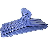Синие пластмассовые вешалки плечики 42см крепкие для верхней одежды