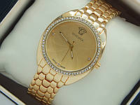 Женские кварцевые наручные часы Versace на металлическом ремешке со стразами, фото 1