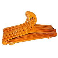 Оранжевые пластмассовые вешалки плечики 42см крепкие для верхней одежды