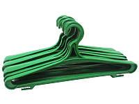Зелёные пластмассовые вешалки плечики 42см крепкие для верхней одежды